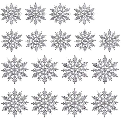 36 Stück Schneeflocken Weihnachten Deko,Schneeflockendekoration zum Aufhängen für, ,Glitter Weihnachtsbaum.Weihnachtsdeko Fensterdeko,Weihnachtsbaumschmuck Schneeflocken,Schneeflocken Deko (silver)
