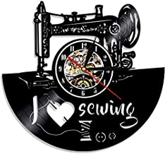 Sewing machine vinyl record wall clock is a good idea for tailoring tailors