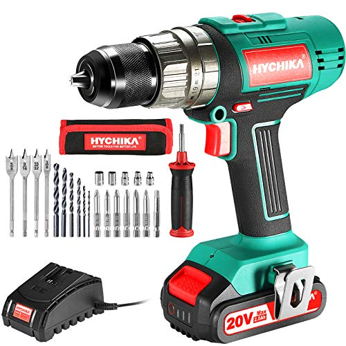 """Cordless Drill Driver 20V, HYCHIKA 400 In-lbs Torque Power Drill with Auxiliary Handle, 1/2"""" Keyless Chuck, 2.0Ah Li-ion Battery, 1H Fast Charger, 21+3 Clutch, LED Light for Drilling Wood Metal Wall"""