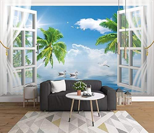 Fotobehang 3D kokosnoot zee wandschilderijen vliesbehang wandschilderij Wall Mural Wallpaper modern design wanddecoratie voor slaapkamer woonkamer kinderkamer 400 x 280 cm.