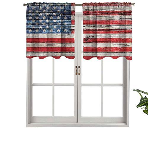 Hiiiman Cortinas opacas cortas, con bolsillo para barra, 4 de julio, para el Día de la Independencia pintadas, juego de 2, cenefas pequeñas de media ventana de 137 x 61 cm para dormitorio