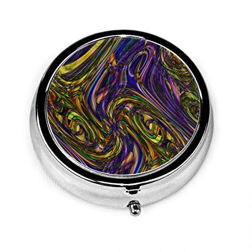 Pastillero Redondo Color20, Lindo Ratón Música Dj Estuche de Medicina Redondo con 3 Componentes, Estuche Organizador de Tableta de Pastilla de Metal Portátil Soporte de Vitamina