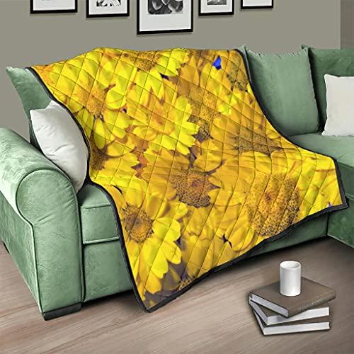 Flowerhome Colcha con diseño de girasol, para cama o sofá, para dormir, para adultos y niños, color blanco, 150 x 200 cm