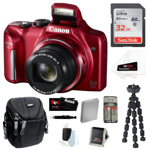 Canon PowerShot SX170 IS 16MP Digital Camera with 16x Optical Zoom and 3-inch LCD in Red + 32GB SDHC + Replacement NB-6L Battery + Focus Multi Card Reader + Compact Camera Case + Spider Tripod + Accessory Kit