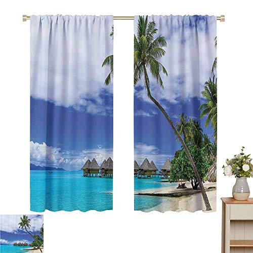 hengshu Tropical Decor Room Darkening Curtains for Bedroom Over-Water Bungalows of Tropical Resort Bora Bora Island Pacific Ocean Panorama Bedroom Curtains Decor W52 x L63 Inch Green Blue White