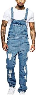 Salopette Taglio Largo Indietro Croce Strappare Midwash Salopette di Jeans per Uomo con Tasca