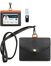 ROCONTRIP ID カードホルダー ネームホルダー 本革 横型 両面用 社員証・名札入れ・定期入れ・パスケース カードケース ネックストラップ付 2つポケット (ブラウン)