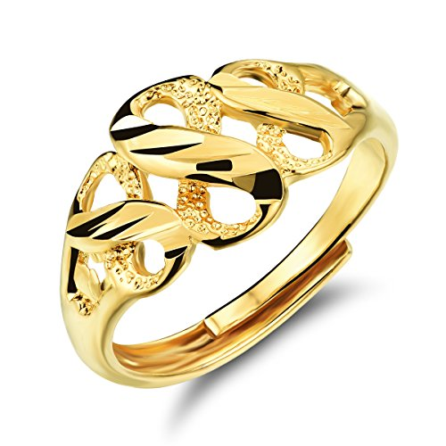 FJYOURIA - Anillo de oro de 18 quilates para mujer