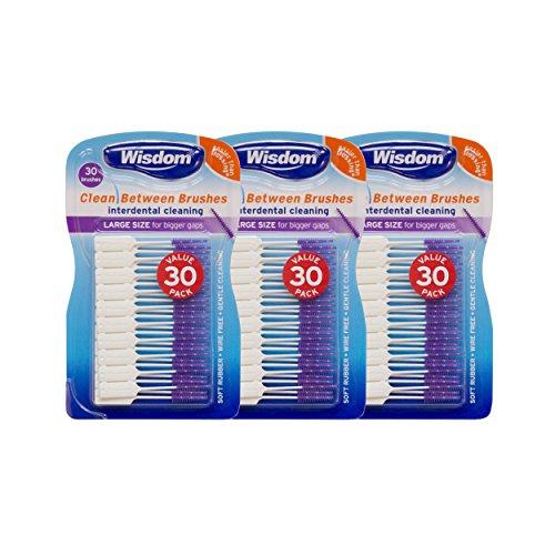 Wisdom Toothbrushes Schoon tussen interdentale borstels, groot, Pack van 3, 90-count