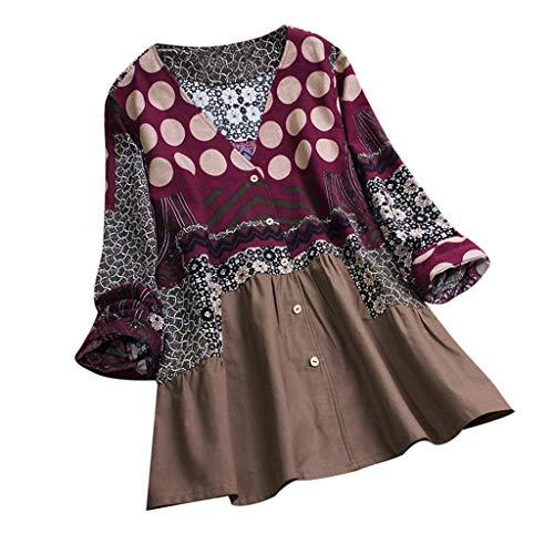 TEBAISE Damen Sommer Herbst Elegante Frauen Leinen Floral Printed Langarm Beiläufig Täglichen Party Workout Tunika Swing Tops Shirt Bluse Hemd