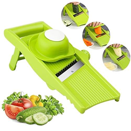 Slicer de vegetal ajustable Papa de patata Pelador de la zanahoria Dicer Herramientas de cocina Herramientas de fruta vegetal Cutter Shredder Julienne (Color : Finger Protecter)