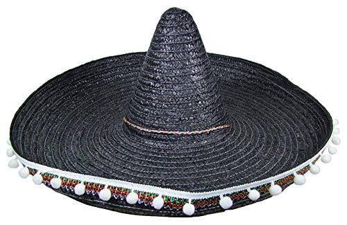 Mexikaner Sombrero mit Troddeln - 60 cm Durchmesser - Schwarz - Toller Mexiko Hut für Erwachsene zum Kostüm