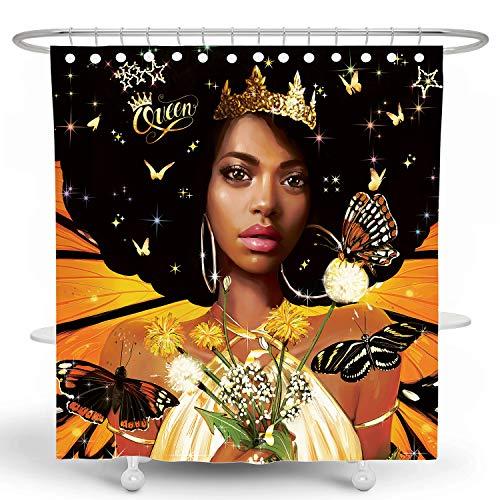 DESIHOM Black Girl Duschvorhang 3D Schwarz Frau Duschvorhang Schwarz Kunst Duschvorhang African Black Queen Polyester Wasserdicht 183 x 183 cm