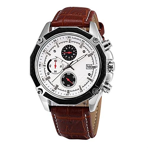 QHG Reloj de Pulsera de Cuarzo para Hombres Impermeable Impermeable con cronógrafo analógico Fecha Calendario Dial Negro/Marrón (Color : Brown)