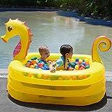 Chalkalon Aufblasbares Planschbecken, Verdickter Babypool, Seepferdchen Baby Aufstell Pool für Kinder haben Spaß im Freien