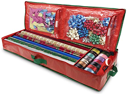 Gift Wrap Storage Organizer - Easily Organize Your Wrapping Paper, Ribbons, Bows and Scissors. Keeps Supplies in Perfect Condition Year Round and Ready for The Next Season. (Red)