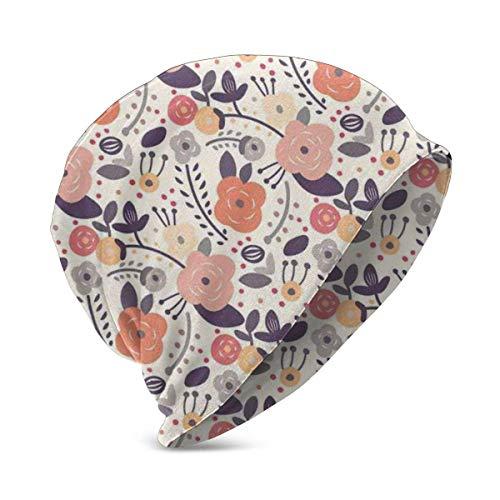 Mamihong Vintage Pastellfarben des abstrakten Blumenbildes mit Gekritzelblumenmotiven und -Punkten, Unisex Teen Verschiedene Strickmützenstile