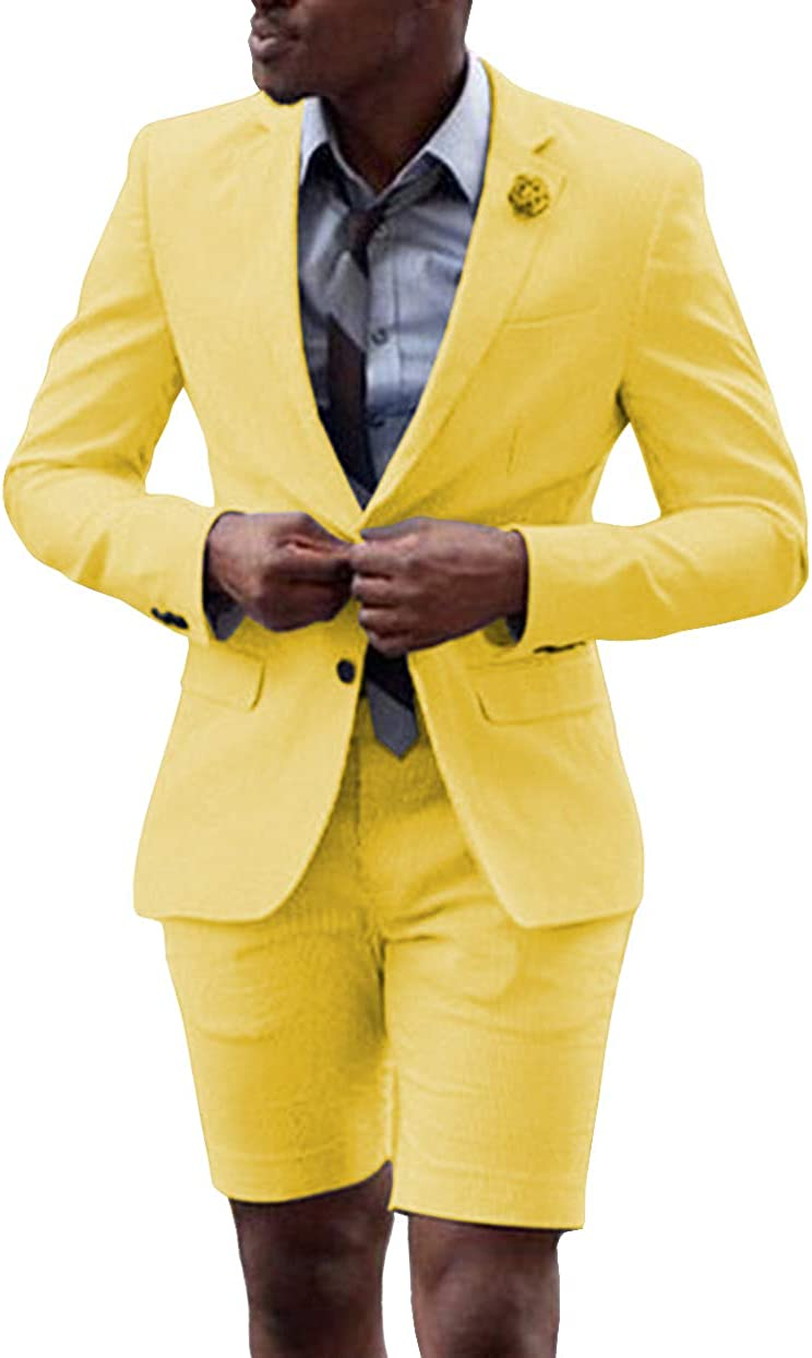 Fitty Lell Men Suit 2 Piece Groom Tuxedo with Short Pants Fashion Business Mens Summer Wear Suits Sets