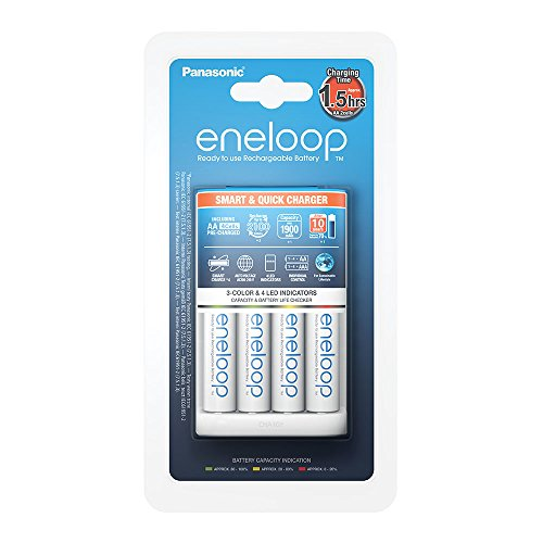 Panasonic eneloop, Intelligentes Schnellladegerät, für 1-4 Ni-MH Akkus AA/AAA, mit LED-Anzeige und Einzelschachtüberwachung, inklusive 4x eneloop, AA Mignon, min. 1900 mAh, 2100 Ladezyklen, weiß