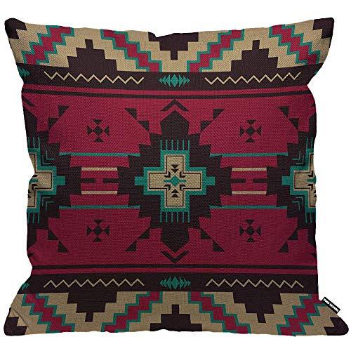 Funda de cojín con patrón étnico, nativo del suroeste americano, indio, azteca, navajo, funda de almohada decorativa para el hogar, sala de estar, dormitorio, sofá, silla, 45 x 45 cm