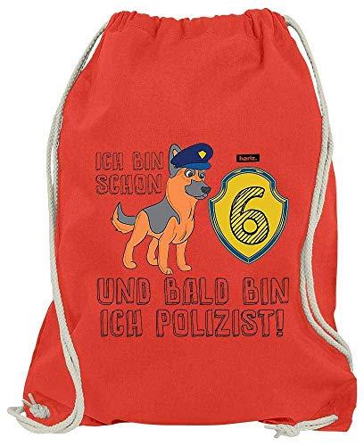 HARIZ Turnbeutel Bald Bin Ich Polizist Schäferhund 6 Geburtstag Lustig Überraschung Inkl. Geschenk Karte Rot One Size