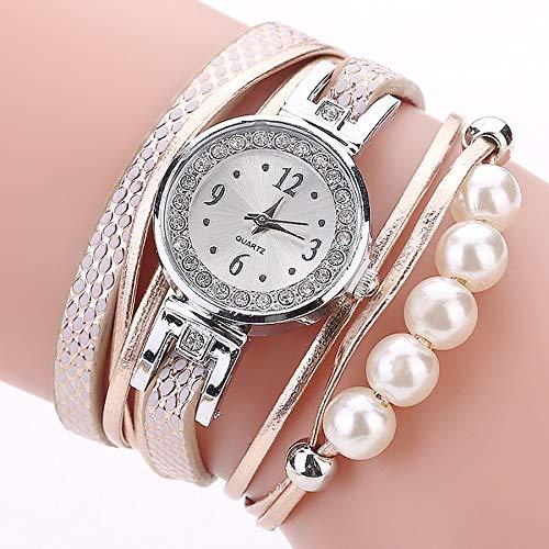 Uhr Damen, VECOLE Klassische Mode Lässig Perlenarmband mit Diamant Zifferblatt Uhr Armbanduhr Quarz Analoganzeige Uhr(Gold)