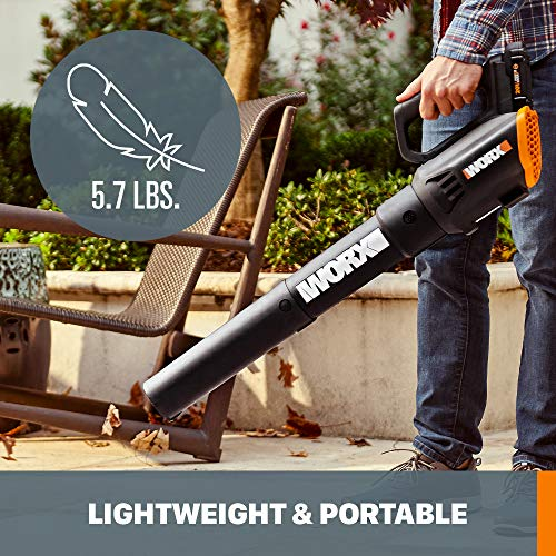 WORX WG547 20V (2.0Ah) Power Share Cordless Turbine Blower, 2-Speed, Battery and Charger Included, Black/Orange