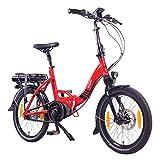 "NCM Paris MAX N8R / N8C E-Bike, E-Faltrad, 250W, 36V 14Ah 504Wh Akku, 20"" Zoll (Rot mit Rollenbremse (N8R))"