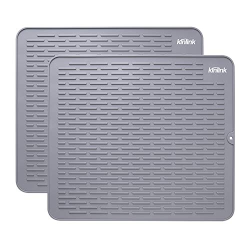 Kinlink Silicone Dish Drying Mats 2 Pack - 18x16 Large Dishwasher Safety Counter Pad for Faster Drying, Kitchen Dish/Dish Draining/Sink Mat, Heat Resistant Trivet, Grey