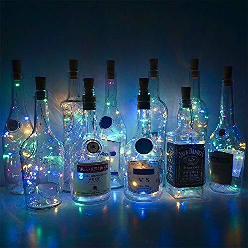 Lichtketting 2 m 20 x wijnglas met batterij kurk wijnfles in de vorm van licht stopper fee jar licht party kerstdecoratie 2 stuks White