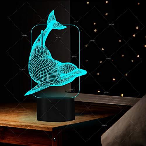 Sproud White Crack 7 Farbe Touch Dolphin 3D Illusion Lampe/Led Nachtlicht/dekorative Atmosphäre Lampe/Nachttischlampe/Baby Schlafzimmer Schlaf Geschenk