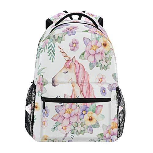 Pink Floral Unicorn Travel Laptop Backpack Cute Monster Rainbow Galaxy Unicorn Boy Girl Kids School Bag Bookbag 14 inch Laptop Backpack Camping Travel Outdoor Daypack Shoulder Bag