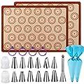 "Macaron Baking Kit Silicone Mat - (23pcs set) 2 Half Sheet Macaron Silicone Mat,12 Piping Tip,2 Piping Bag with 4 Bag Tie,2 coupler,1 Puff Nozzle Tip (11.6""x16.5"") (Blue)"