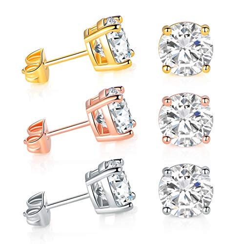 DwearBeauty 3 Pairs Earrings Studs in 18k Yellow Gold, Rose Gold, White Gold Plated Color with Bright Large Cubic Zirconia Stone