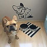 keletop Selbstklebendes Vinyl wasserdichtes Wandtattoo Urinal Französische Bulldogge Wohnkultur Kunst Innenarchitektur Zimmer Schlafzimmer Aufkleber Abnehmbares Wandbild 42x33cm