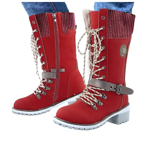 ZBYY Botas hasta la rodilla para mujer, con cordones, estilo vaquero, botas altas para invierno, cálidas de combate, para montar a media pantorrilla, 8, Vino