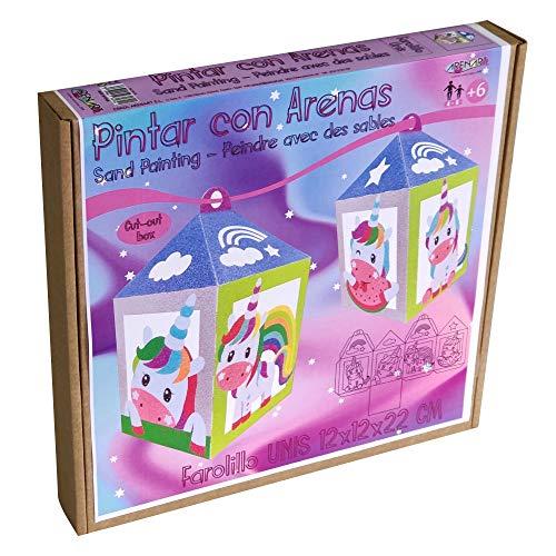 Arenart | 1 Lámpara de Farol Unicornio 12x12x22cm | para Pintar con Arenas de Colores | Manualidades para Niñas | Dibujo Infantil | +9 años