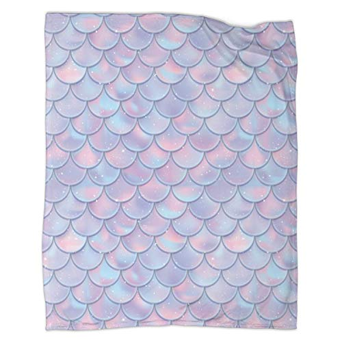 "ARTIEMASTER Mermaid Fish Scale Warm Blanket for Baby Kids Fuzzy Lightweight Bed Throw Blankets Decoration Gift 50""x40"""