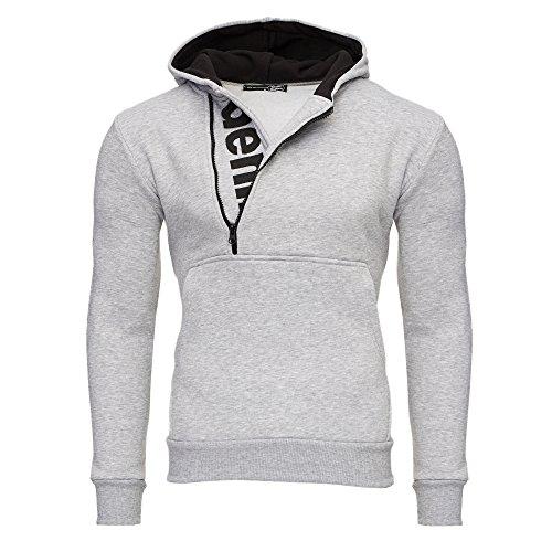 Tazzio Herren Styler Sweatshirt mit Kapuze Pullover Hoodie 16215 Grau XL