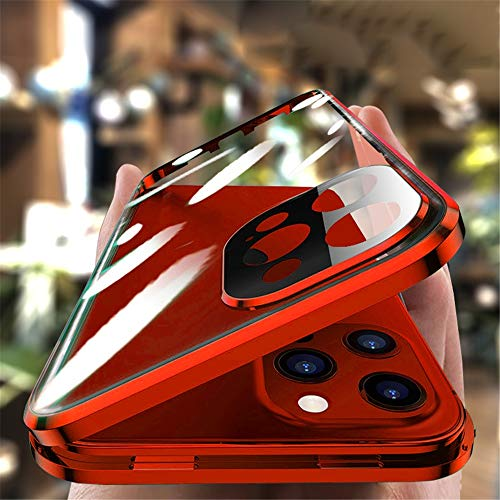 with Safety Lock & Strong Magnetic adsorption for iPhone 12 Pro Max case with Camera Lens Protector Metal Bumper 360 Full Body Protection Double-Sided Tempered Glass (iPhone12promax, Red)