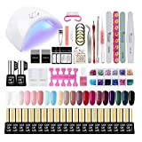 Saint-Acior Kit 20pc Vernis Gel Semi Permanent à Ongle 36W Lampe UV/LED Vernis Top Coat Base Coat Soak Off Gel Polish Limes Strass Nail Art Décors Dissvolant Limes Outils Manucure