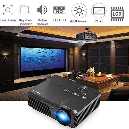 Proiettore LED ad alta luminosità 4200 Lumens Proiettore per Home Cinema Supporto Uscita audio HDMI Full HD 1080P VGA USB HDMI per Iphone Ipad Mac Telefono Android Tablet PC Laptop Box TV DVD