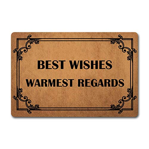 "DZGlobal Welcome Doormat Funny Mat Best Wishes Warmest Regards with Personalized Design Outdoor/Indoor Doormat (23.6 X 15.7 in) Kitchen Bathroom Non-Slip Rubber Mats and Bedroom Rugs 16"" X 24"""