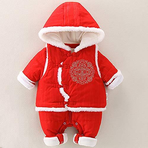 Baby Jumpsuit-Chinese stijl Twee feestelijke nieuwjaarskleding dikker uit 80cm Rood