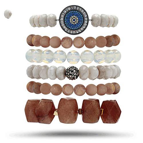 DMUEZW 6 Unid/Set Natural Sunstone Conector de Circón Azul Crazy AG Piedra Marrón Nugget Bead Mujeres Joyería Fantástica Pulsera