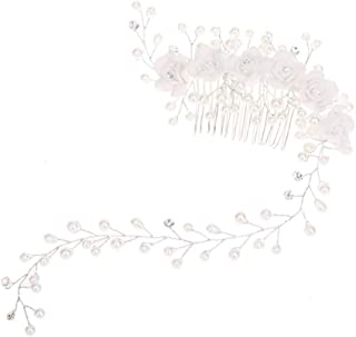 Sunshinesmile Handmade Hair Combs Bridal Floral Headband Women Pearl Flower Jewelry Hairband Bridal Tiara Wedding Accessories