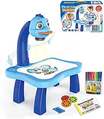 AMOOM Juego de mesa para proyectores de dibujo para niños, diseño de rastro y dibujo de juguete con luz y música, escritorio de aprendizaje con pintura de proyector para niño