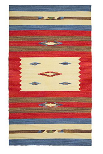 Jute & Co. Kilim Tappeto, Passatoia in Cotone di Alta qualità Tessuto a Mano, Multicolore, 90 x 150 cm
