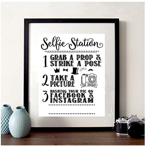 Vektenxi Nordic Selfie Station Sign Print Share Your Pic on Social Media Facebook Instagram Hashtag Canvas Painting Take a Selfie Photo Poster-30x42cm No Frame