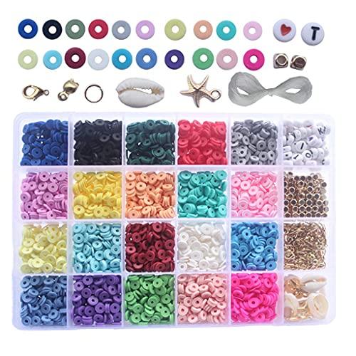 zhangaoyo 4000 cuentas sueltas de arcilla polimérica de 24 colores de 6 mm para hacer joyas y manualidades, pulseras, collares, accesorios de disfraces